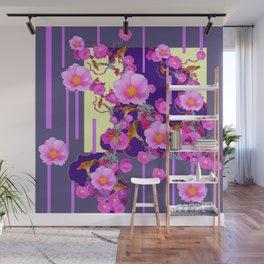 Modern Artwork Pink Wild Roses Purple Grey Design Wall Mural