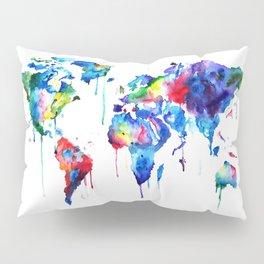 World Map, colorful Pillow Sham
