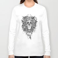 stickers Long Sleeve T-shirts featuring Lion by Feline Zegers