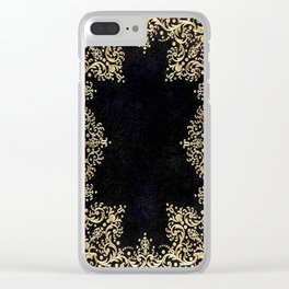 Black and Gold Filigree Clear iPhone Case
