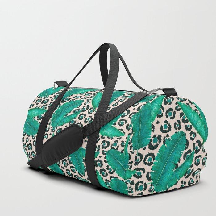 Trendy Tropical Banana Leaf Leopard Print Duffle Bag