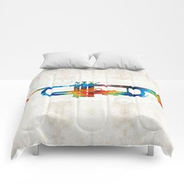 Colorful Trumpet Art Color Fusion By Sharon Cummings Comforters