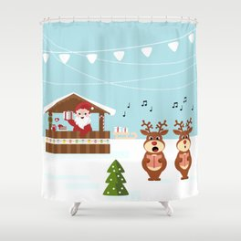 Christmas market cartoon illustration with Santa Claus behind the stand Shower Curtain