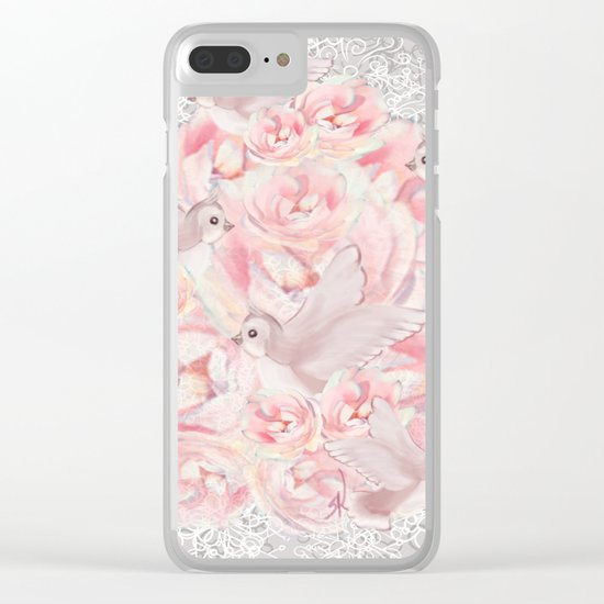 Rose Birds Clear iPhone Case