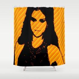 Ms.Gomez yellow art print Shower Curtain