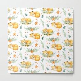 Modern orange teal watercolor fox floral pattern Metal Print