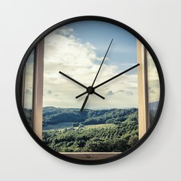 Panoramic view of the rolling hills of Chianti through a window in early morning Wall Clock