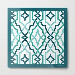 classic modern lattice turquoise teals Metal Print