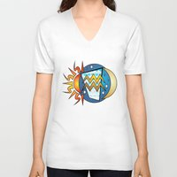 astrology V-neck T-shirts featuring Astrology, Aquarius by Karl-Heinz Lüpke