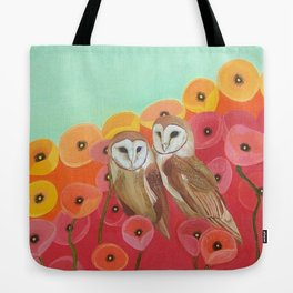 Owls in a Poppy Field Tote Bag