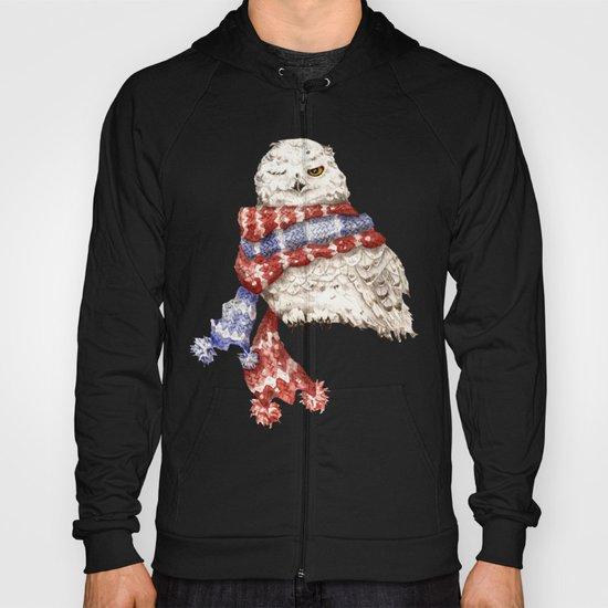 Winking Arctic Owl in Scarf Hoody