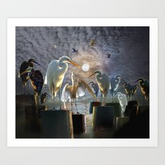 Fantasy Image of Bird Gathering Art Print