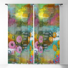 Bright Curiosity 2, Abstract Landscape Floral Painting Blackout Curtain