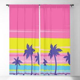 Neon Rainbow Island Blackout Curtain