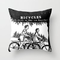 bicycles Throw Pillows featuring Bicycles by Addison Karl