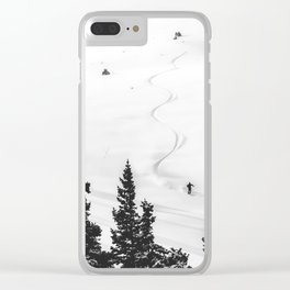 Backcountry Skier // Fresh Powder Snow Mountain Ski Landscape Black and White Photography Vibes Clear iPhone Case