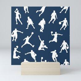 Basketball Players // Navy Mini Art Print