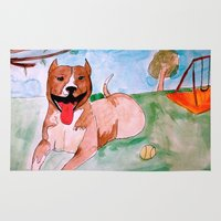 pit bull Area & Throw Rugs featuring Pit Bull by Caballos of Colour