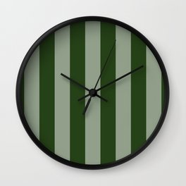 Large Dark Forest Green Circus Tent Stripes Wall Clock
