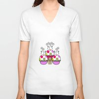 polkadot V-neck T-shirts featuring Cute Monster With Pink And Purple Polkadot Cupcakes by Mydeas