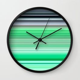grey and green striped pattern Wall Clock