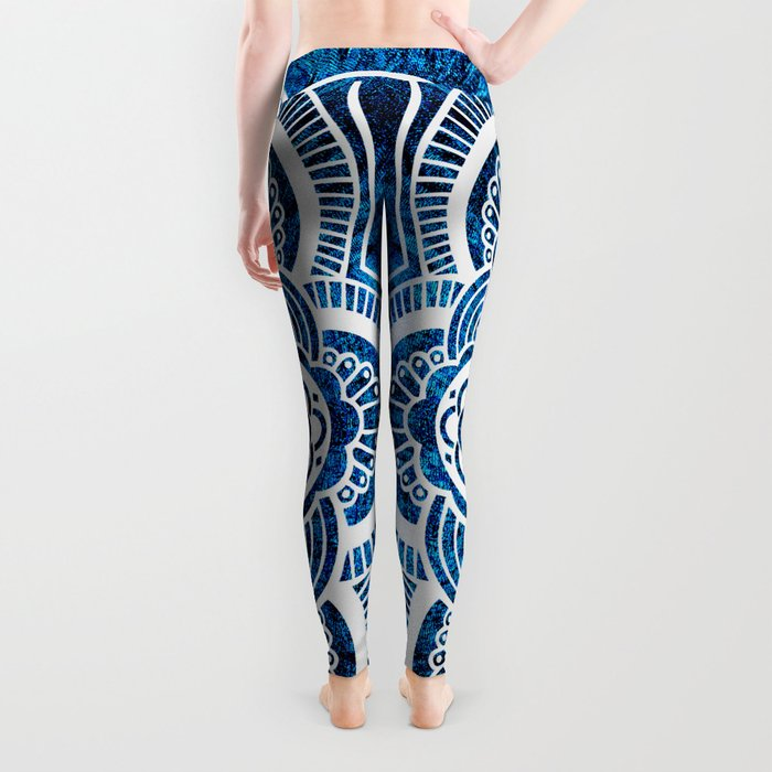 Mandala Cerulean Blue Colorburst Leggings