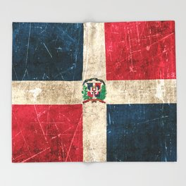 Vintage Aged and Scratched Dominican Flag Throw Blanket