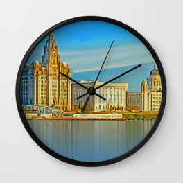 Water front Liverpool (Digital Art) Wall Clock