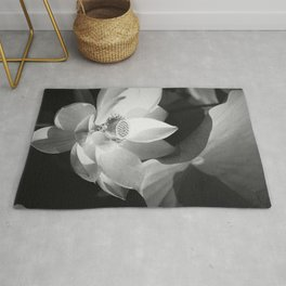 Lotus Blossom in bloom, tropical black and white photograph / art photography by Edward Steichen Rug