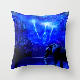 ELEPHANT LIGHTNING AND AFRICAN NIGHTS Throw Pillow