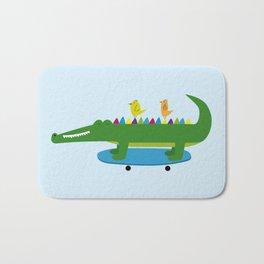 Crocodile and skateboard Bath Mat