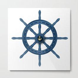 Ship Wheel Blue Rudder Metal Print