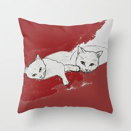 Two Cuddly Cats: Nap and Stare Throw Pillow