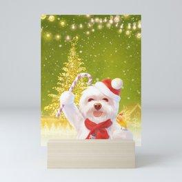 Christmas Dog in Santa Hat Mini Art Print