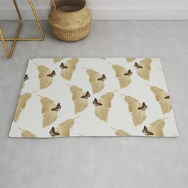 Butterfly & Palm Leaf, Gold Wall Art Rug