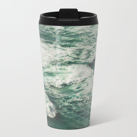 Wave Swirl Metal Travel Mug