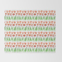 Tulip Garden Print in Shades of Coral Orange and Green Throw Blanket