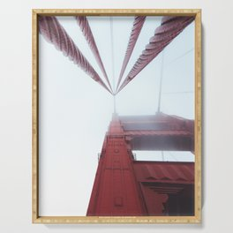 Golden Gate Bridge fogged up - San Francisco, CA Serving Tray