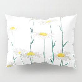 white daisy watercolor horizontal Pillow Sham