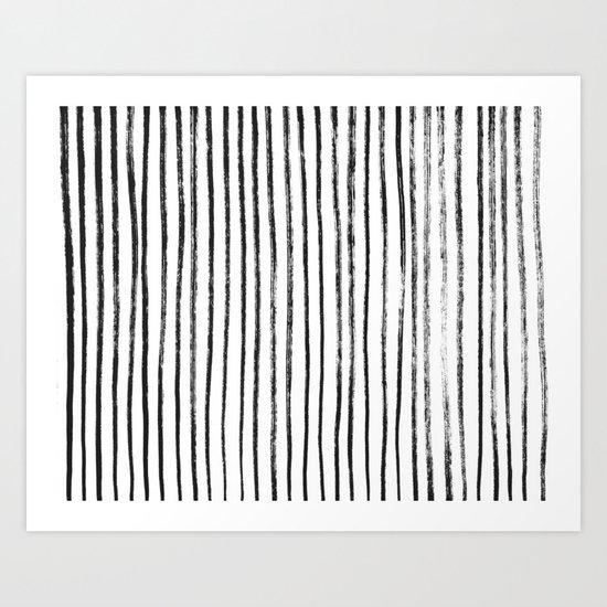 Black Dry Brush Line Pattern (Vertical) Art Print
