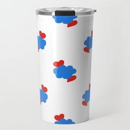 Cloud Hearts Red, White and Blue Sky Travel Mug