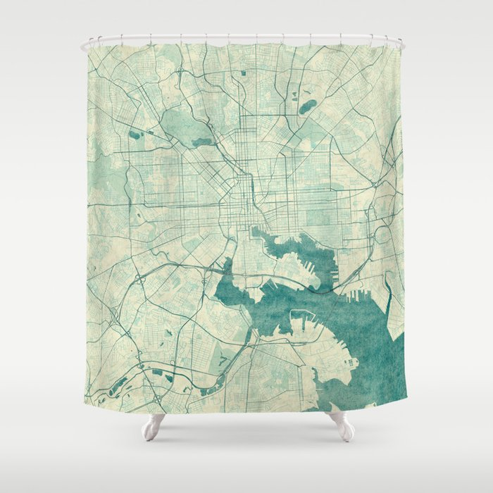 Baltimore Map Blue Vintage Shower Curtain by hubertroguski   Society6