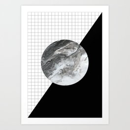 Grid and marble Art Print