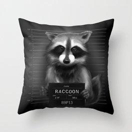 Raccoon Mugshot Throw Pillow