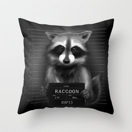 Raccoon Mugshot Throw Pillow