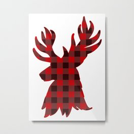 Deer Silhouette Christmas Plaid Metal Print
