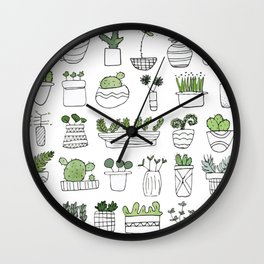 Spiky Succulents Wall Clock
