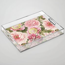 Vintage & Shabby Chic Floral Peony & Lily Flowers Watercolor Pattern Acrylic Tray