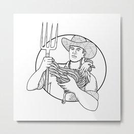 Farmer Holding Hen Pitchfork Zentagle Metal Print