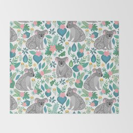 Floral Koala Throw Blanket